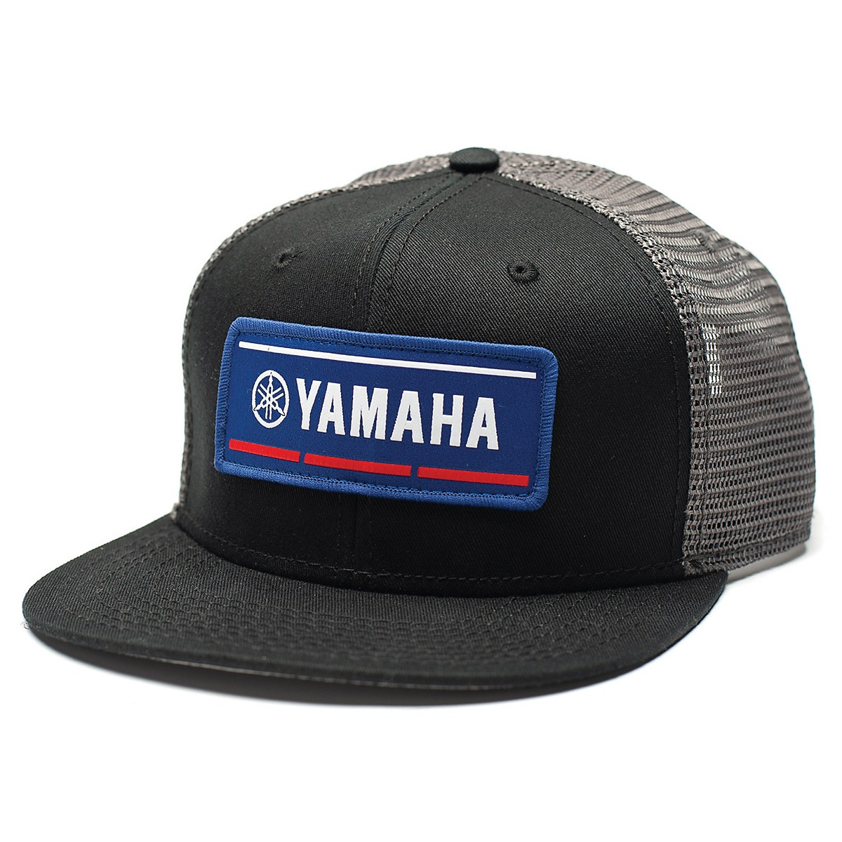 4ba7557e6a2 Description. Features a black snap-back trucker hat with embroidered Yamaha  ...
